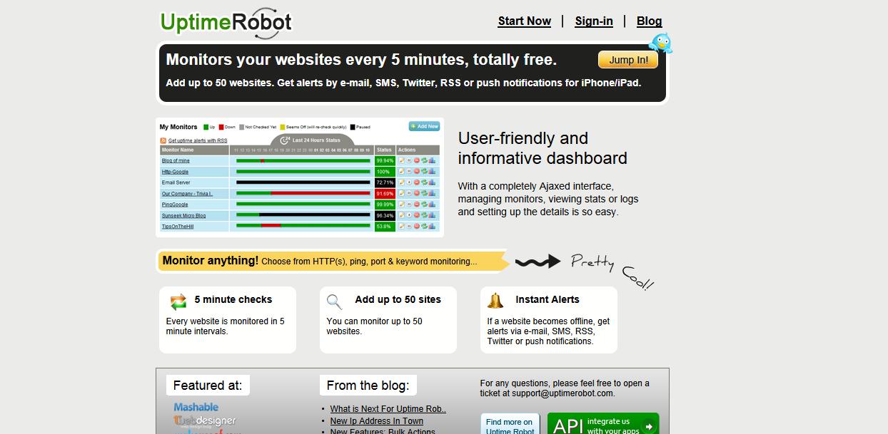 サーバーダウンをチェックし、メールで知らせてくれる無料サービス Uptime Robot